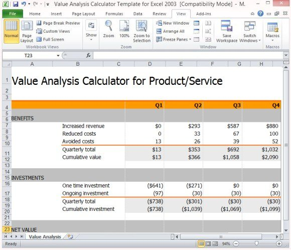 Value analysis calculator template for excel for Cost price analysis template