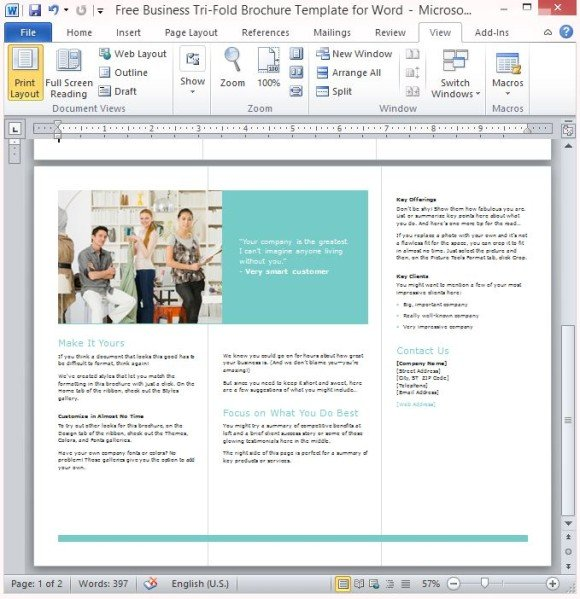 Wonderful Layout Of The Tri Fold Brochure Perfect For Every Business  Microsoft Tri Fold Brochure Template Free