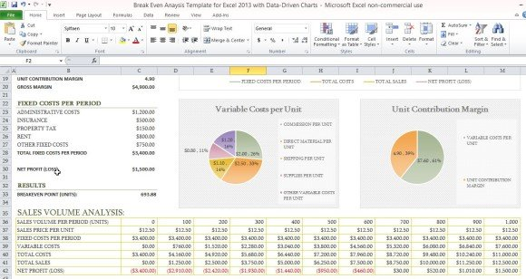 profit margin spreadsheet template