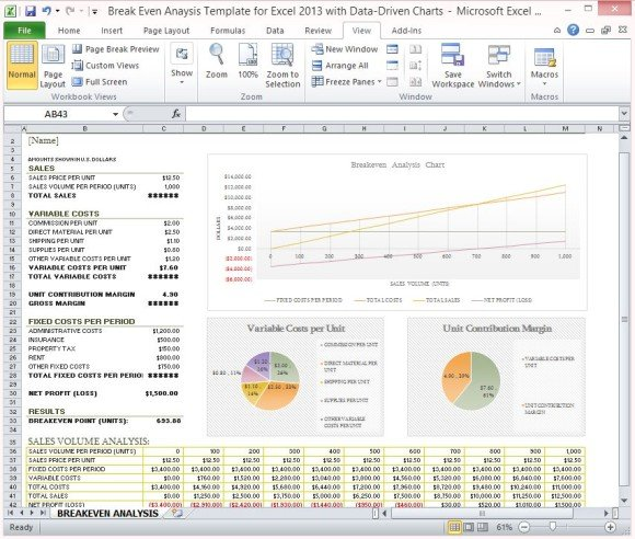 Break Even Analysis Template For Excel 2013 With   Break Even Excel Template