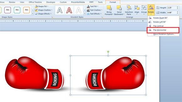 Flip an Object Horizontally in PowerPoint 2010