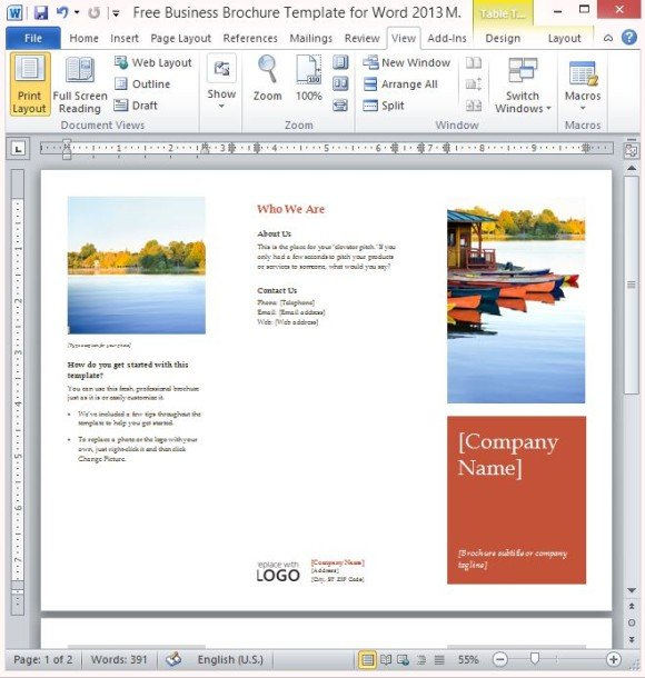 Free business brochure template for word 2013 for Template word brochure