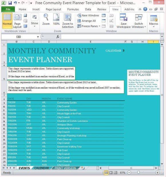 Free Community Event Planner Template For Excel