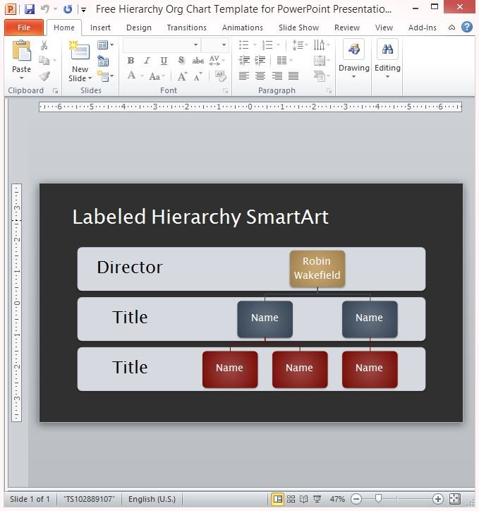 free hierarchy org chart template for powerpoint presentations