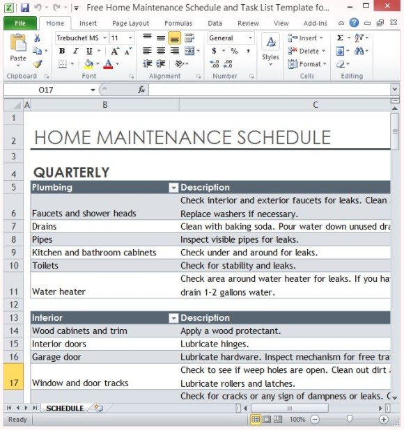 Free Home Maintenance Schedule And Task List Template For Excel