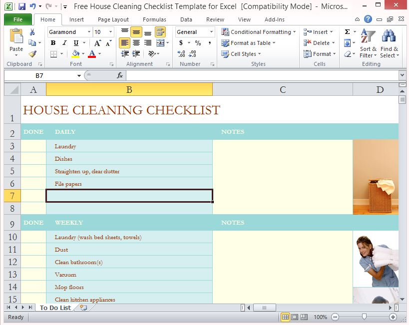 picture regarding Cleaning List Template identified as Cost-free Place Cleansing Listing Template For Excel