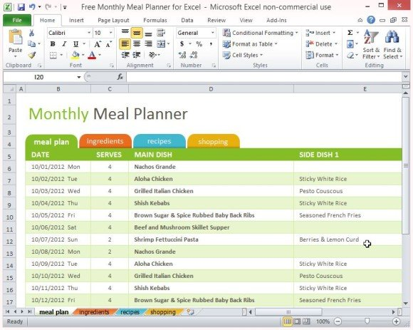 monthly meal planner template excel