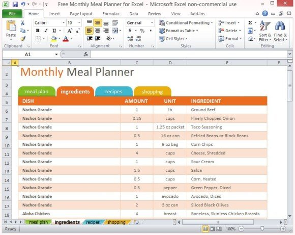 monthly food menu template