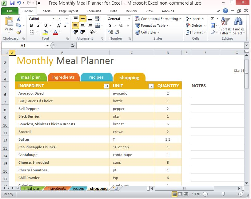 microsoft grocery list template