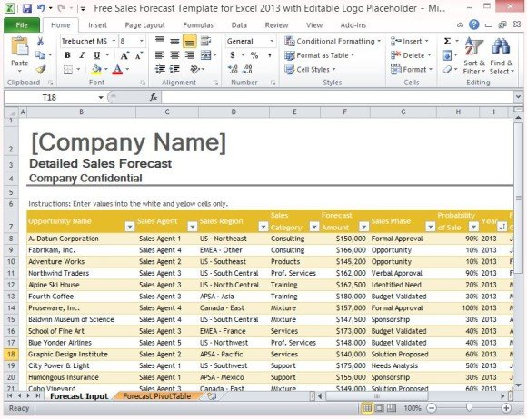 Free sales forecast template for excel 2013 with editable logo for Sales projection template free download