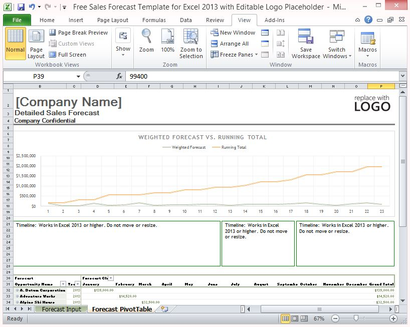 Free Sales Forecast Template For Excel 2013 With Editable Logo