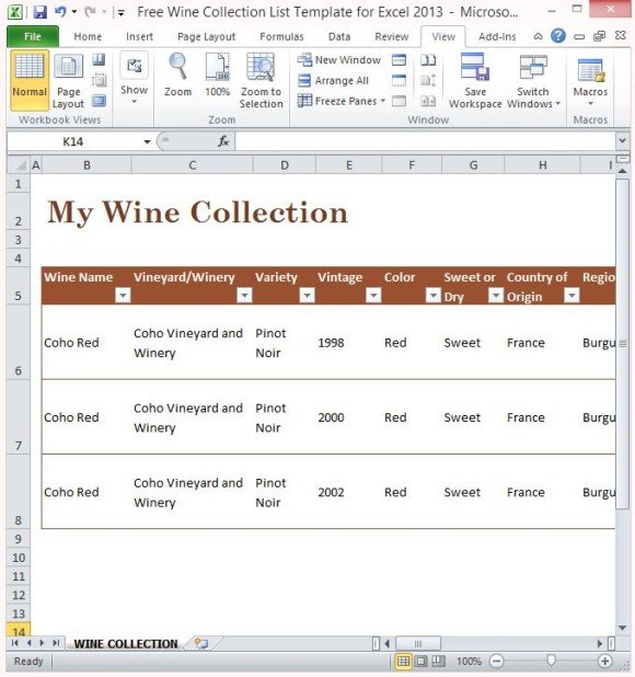 Free Wine Collection List Template For Excel 2013