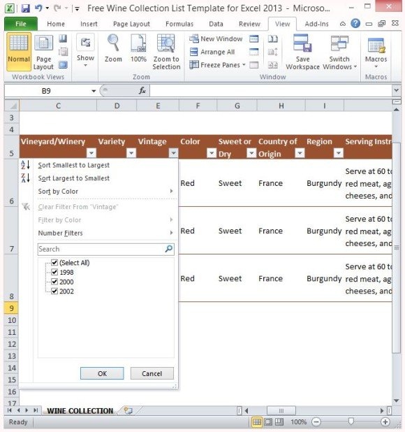 Free wine collection list template for excel 2013 free wine collection list template for excel 2013 maxwellsz