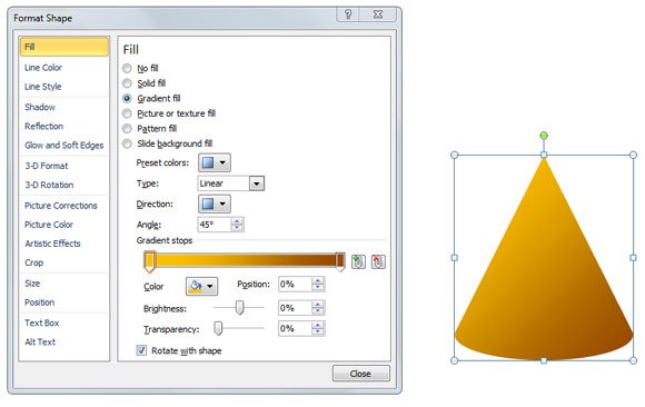 Cone Fill diagram in PowerPoint using Gradient Fill