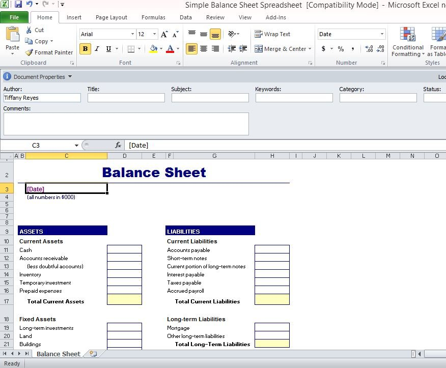Balance Sheet Template For Excel