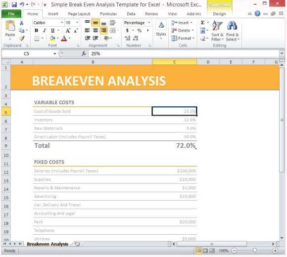 Simple Break Even Analysis Template For Excel 1