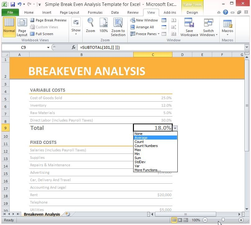 simple break even analysis template for excel 3