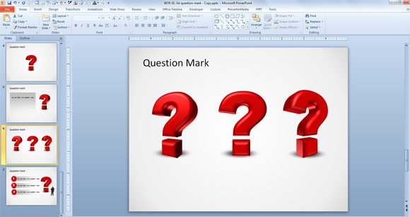 How to create a 3d question mark in powerpoint 2010 for Powerpoint questions and answers template