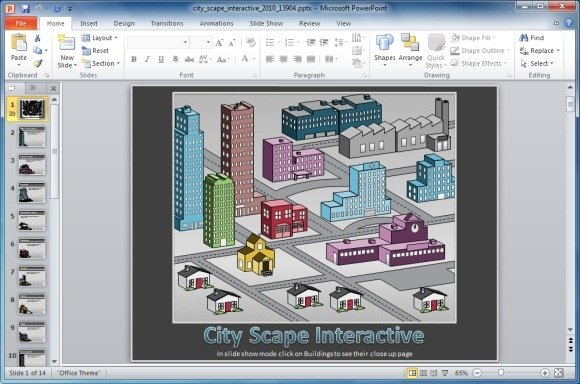 Interactive cityscape powerpoint template cityscape interactive powerpoint template toneelgroepblik Choice Image