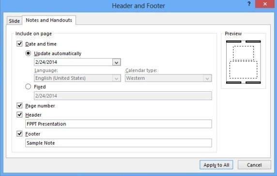 How To Add Header And footer To a Handout or Notes
