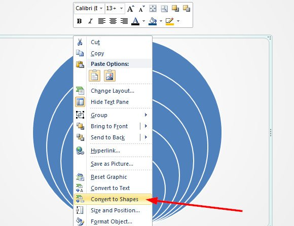 How to create concentric circles in powerpoint once the graphic is converted to powerpoint shapes right click over the graphic and select group ungroup this will ungroup the current graphic so we ccuart Gallery