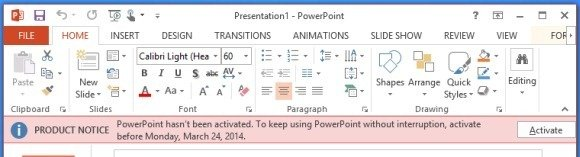 Activate PowerPoint 2013