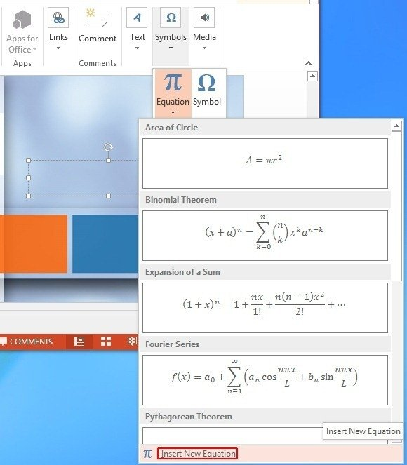 Add a New Equation in PowerPoint