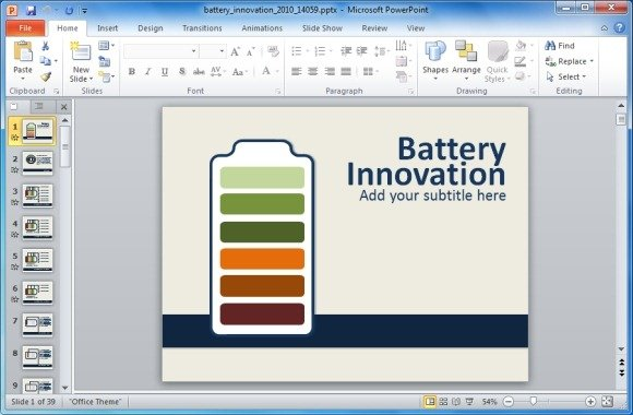animated energy innovation powerpoint template with battery shapes, Modern powerpoint
