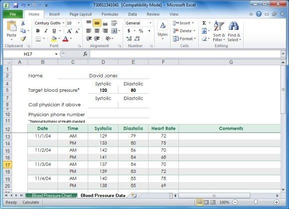 blood pressure tracker template for excel