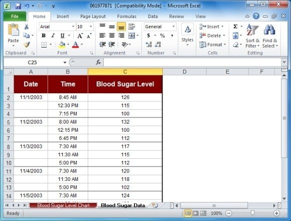 blood sugar chart template for excel