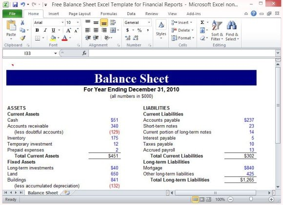 Free balance sheet excel template for financial reports clean layout presenting assets and liabilities friedricerecipe Image collections