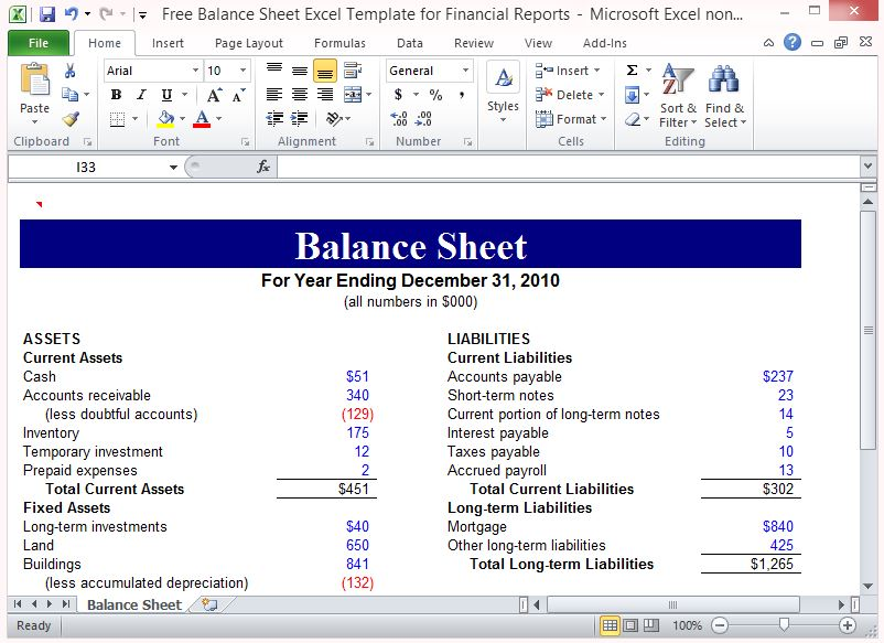 Balance Sheet Excel Template For Financial Reports