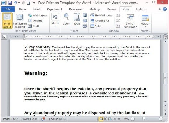Clear and Concise Letter Containing Relevant Information for Evicted Tenant