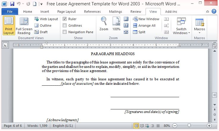 free lease agreement template for word