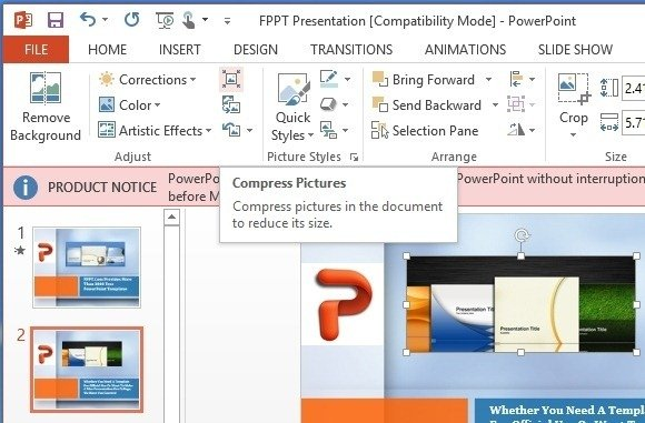 compress pictures in powerpoint 2013 to reduce presentation file size, Powerpoint templates