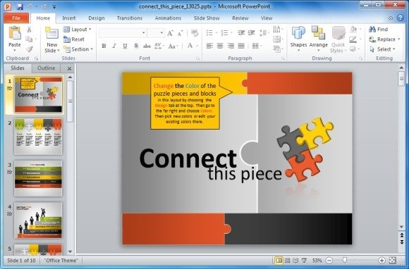 Animated puzzle pieces powerpoint template with stick figures connect this piece powerpoint template toneelgroepblik Images