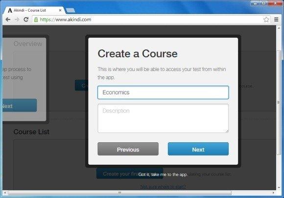 Create Akindi Course