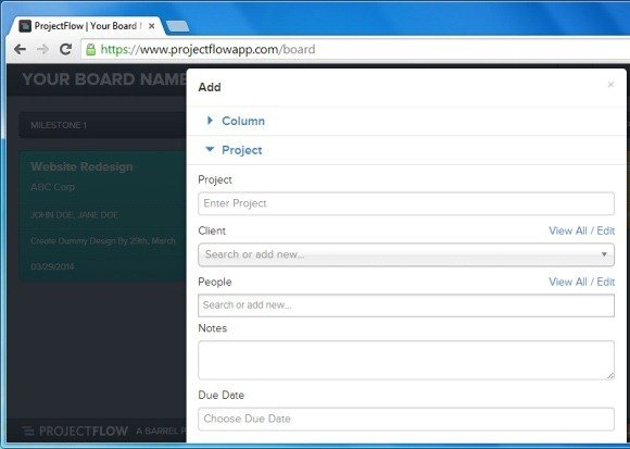 Create Project Columns Using ProjectFlow