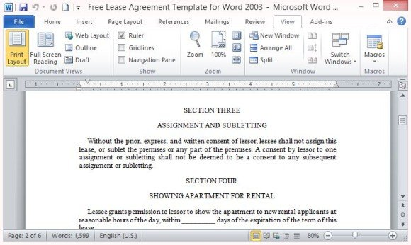 Lease Agreement Template For Word