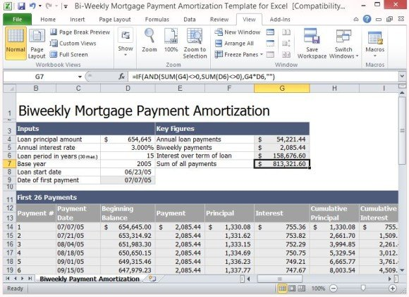 Bi weekly mortgage payment amortization template for excel displays all important information for easy visibility this biweekly mortgage payment amortization template maxwellsz