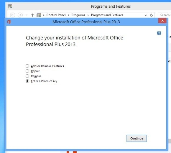 office 2013 cannot change product key