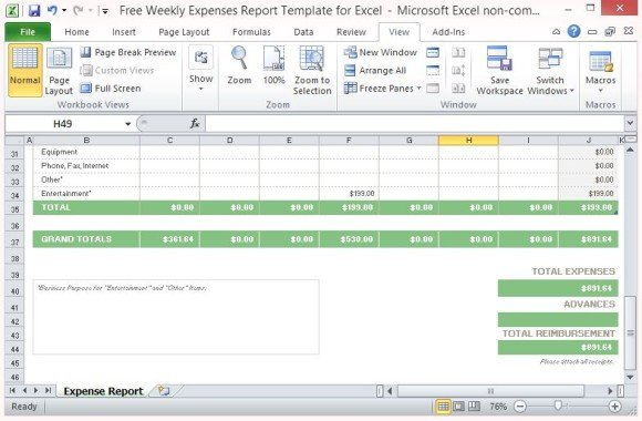 Expense Report Template Auto Computes Weekly Totals And Grand Total  Expenditure Template