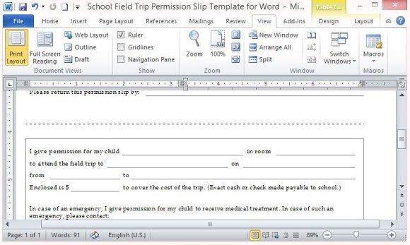 Field Trip PermissionTemplate with Cutout Return Slip