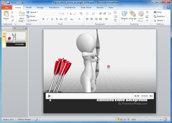 Animated darts target practice template for powerpoint presentations figure shoot arrows at target video background toneelgroepblik