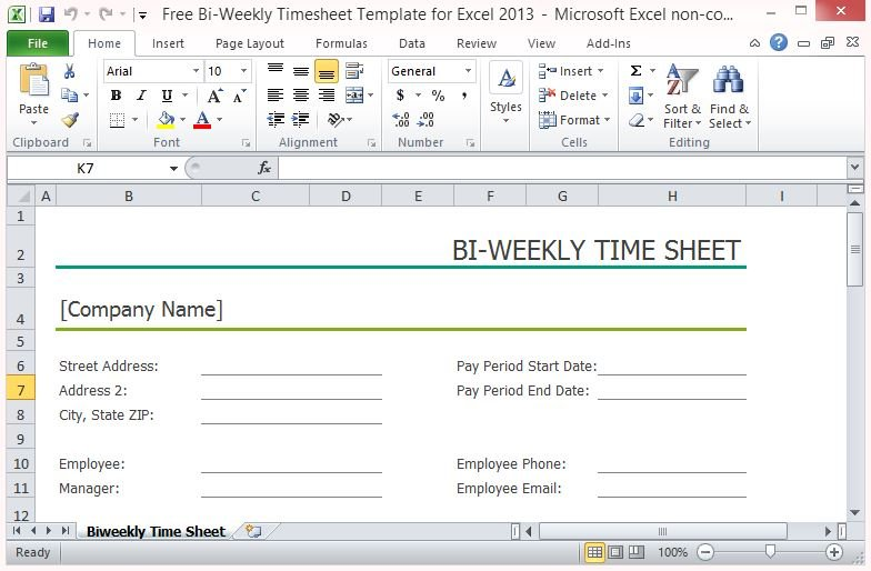 Free BiWeekly Timesheet Template For Excel - Free weekly timesheet template