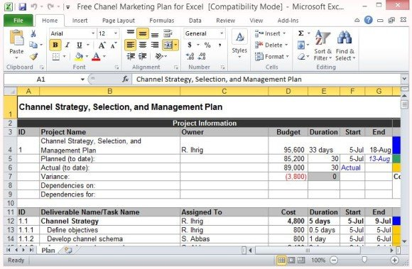 Channel Marketing Plan Template For Excel
