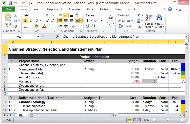 Free Channel Marketing Plan Template for Excel - FPPT