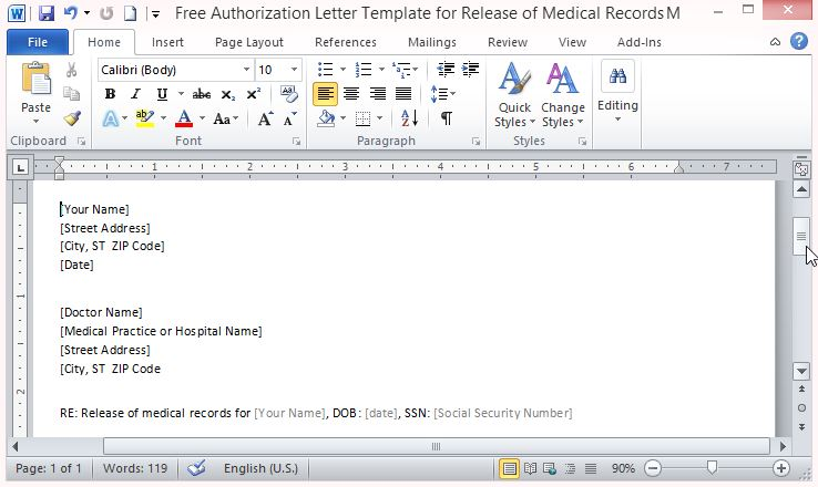 Free authorization letter template for release of medical records thecheapjerseys Gallery