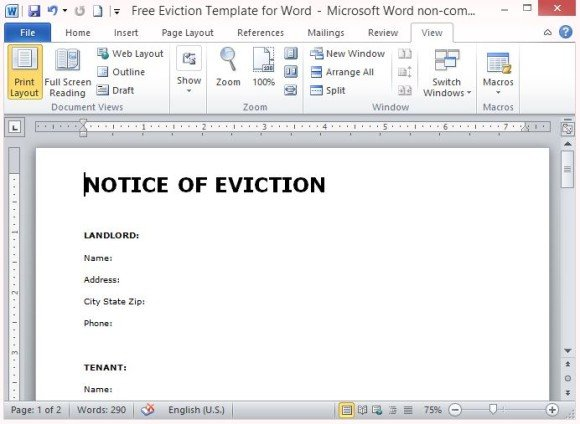 Attractive Free Notice Of Eviction Template From Microsoft Office In Free Eviction Template