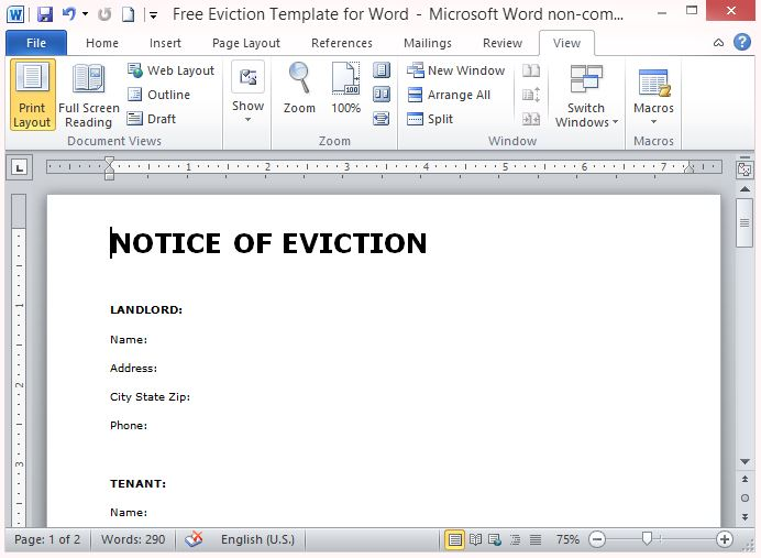 free eviction template for word